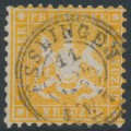 WÜRTTEMBERG - 1862 3Kr yellow-orange Coat of Arms, perf. 10, used – Michel # 22a