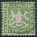 WÜRTTEMBERG - 1863 1Kr yellow-green Coat of Arms, perf. 10, used – Michel # 25a