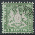 WÜRTTEMBERG - 1863 1Kr olive-green Coat of Arms, perf. 10, used – Michel # 25b
