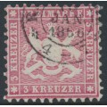 WÜRTTEMBERG - 1863 3Kr pale reddish carmine Coat of Arms, perf. 10, used – Michel # 26b