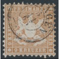 WÜRTTEMBERG - 1863 9Kr pale yellowish brown Coat of Arms, perf. 10, used – Michel # 28b