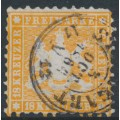 WÜRTTEMBERG - 1864 18Kr yellowish orange Coat of Arms, perf. 10, used – Michel # 29