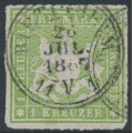 WÜRTTEMBERG - 1865 1Kr yellow-green Coat of Arms, rouletted, used – Michel # 30a