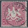WÜRTTEMBERG - 1865 3Kr carmine Coat of Arms, rouletted, used – Michel # 31b