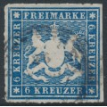 WÜRTTEMBERG - 1865 6Kr deep blue Coat of Arms, rouletted, used – Michel # 32a