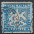 WÜRTTEMBERG - 1865 6Kr pale blue Coat of Arms, rouletted, used – Michel # 32b