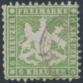 WÜRTTEMBERG - 1862 6Kr olive-green Coat of Arms, perf. 10, used – Michel # 23a