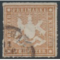 WÜRTTEMBERG - 1865 9Kr reddish brown Coat of Arms, rouletted, used – Michel # 33a