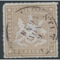 WÜRTTEMBERG - 1865 9Kr pale brown Coat of Arms, rouletted, used – Michel # 33b