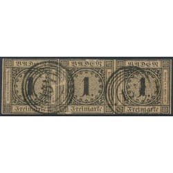 BADEN - 1851 1Kr black on yellow-brown Numeral, imperforate, horizontal strip of 3, used – Michel # 1b