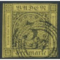 BADEN - 1851 3Kr black on yellow Numeral, imperforate, used – Michel # 2b