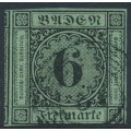 BADEN - 1851 6Kr black on blue-green Numeral, imperforate, used – Michel # 3a