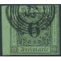 BADEN - 1851 6Kr black on deep yellow-green Numeral, imperforate, used – Michel # 3b