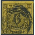 BADEN - 1854 6Kr black on yellow Numeral, imperforate, used – Michel # 7