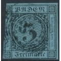 BADEN - 1858 3Kr black on ultramarine Numeral, imperforate, used – Michel # 8