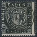 BADEN - 1860 1Kr black Coat of Arms, perf. 13½, used – Michel # 9