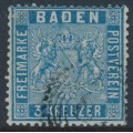 BADEN - 1860 3Kr Prussian blue Coat of Arms, perf. 13½, used – Michel # 10a