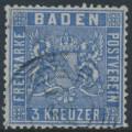 BADEN - 1861 3Kr ultramarine Coat of Arms, perf. 13½, used – Michel # 10b