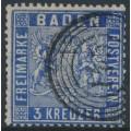 BADEN - 1861 3Kr deep ultramarine Coat of Arms, perf. 13½, used – Michel # 10c