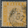 BADEN - 1861 6Kr pale yellow-orange Coat of Arms, perf. 13½, used – Michel # 11b