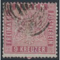 BADEN - 1861 9Kr pale carmine Coat of Arms, perf. 13½, used – Michel # 12