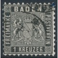 BADEN - 1862 1Kr black Coat of Arms, perf. 10, used – Michel # 13a