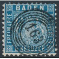 BADEN - 1862 6Kr Prussian blue Coat of Arms, perf. 10, used – Michel # 14b