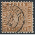 BADEN - 1862 9Kr reddish brown Coat of Arms, perf. 10, used – Michel # 15a