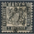 BADEN - 1864 1Kr black Coat of Arms, white background, perf. 10, used – Michel # 17a