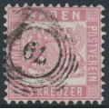 BADEN - 1862 3Kr pale rose-red Coat of Arms, white background, perf. 10, used – Michel # 18