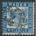 BADEN - 1864 6Kr Prussian blue Coat of Arms, white background, perf. 10, used – Michel # 19b