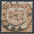 BADEN - 1866 9Kr reddish brown Coat of Arms, white background, perf. 10, used – Michel # 20a