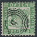 BADEN - 1862 18Kr green Coat of Arms, white background, perf. 10, used – Michel # 21a