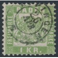 BADEN - 1868 1Kr pale green Coat of Arms, white background, perf. 10, used – Michel # 23