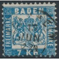 BADEN - 1868 7Kr blue Coat of Arms, white background, perf. 10, used – Michel # 25a