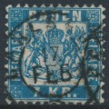 BADEN - 1871 7Kr grey-blue Coat of Arms, white background, perf. 10, used – Michel # 25b