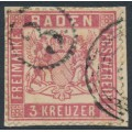BADEN - 1862 3Kr rose-red Coat of Arms, white background, perf. 13½, used – Michel # 16