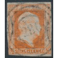 PREUßEN - 1851 ½Sgr red-orange King Friedrich Wilhelm IV with laurel wreath watermark, used – Michel # 1