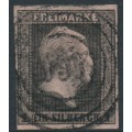 PREUßEN - 1850 1Sgr black on rose King Friedrich Wilhelm IV with laurel wreath watermark, used – Michel # 2a