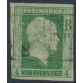 PREUßEN - 1856 4pf green on white King Friedrich Wilhelm IV with laurel wreath watermark, used – Michel # 5a