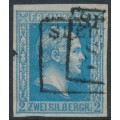 PREUßEN - 1857 2Sgr cobalt-blue King Friedrich Wilhelm IV, imperforate, no watermark, used – Michel # 7a
