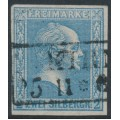 PREUßEN - 1858 2Sgr grey-ultramarine King Friedrich Wilhelm IV, imperforate, quadrille background, used – Michel # 11a