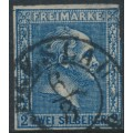 PREUßEN - 1858 2Sgr dark blue King Friedrich Wilhelm IV, imperforate, quadrille background, used – Michel # 11b
