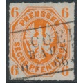 PREUßEN - 1861 6pf orange Eagle, rouletted, used – Michel # 15a