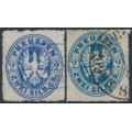 PREUßEN - 1862 2Sgr ultramarine-blue & Prussian blue Eagles, rouletted, used – Michel # 17a+17b