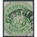 PREUßEN - 1867 1Kr emerald-green Eagle, rouletted, used – Michel # 22