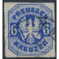 PREUßEN - 1867 6Kr ultramarine Eagle, rouletted, used – Michel # 25a