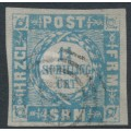 SCHLESWIG-HOLSTEIN - 1864 1¼S grey-ultramarine Danish design, imperf., broad inscriptions, used – Michel # 6