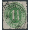 SCHLESWIG-HOLSTEIN - 1864 1¼S green Numeral, rouletted, used – Michel # 9