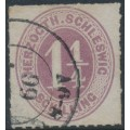 SCHLESWIG-HOLSTEIN - 1865 1¼S red-lilac Numeral, rouletted, used – Michel # 14